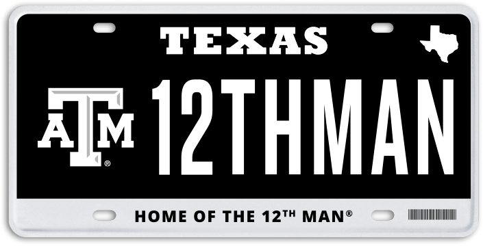 Maroon Texas A&M License Plate