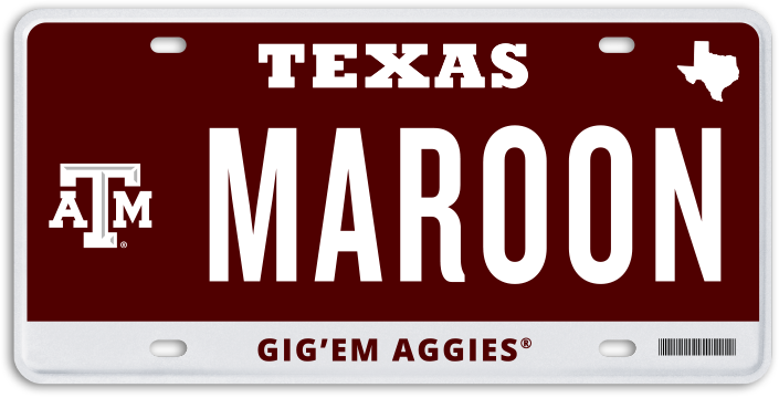 Black Texas A&M License Plate